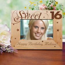 Personalized Sweet 16 Birthday Picture Frame Engraved Wood Sweet 16 Photo Frame