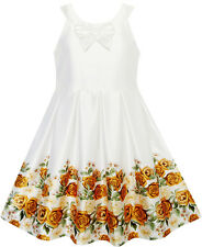 Girls Dress Yellow Rose Print Pleated Hem Wedding Pageant Wedding Size 7-14
