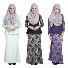 Muslim Bodycon Long Sleeve Dress Islamic Maxi Abaya Kaftan Jilbab Arab Suit 2Pcs