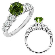 1 Carat Green Diamond 7 Stone Wedding Anniversary Women Ring 14K White Gold