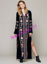 New Hippie Womens Ethnic Boho Chic Embroidered Pessant Flower Beach Maxi Dress