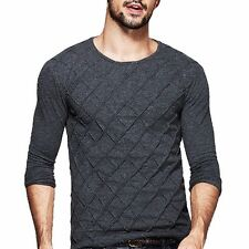Mens New Plaid Round Neck Long Sleeve Fitted Solid Non-iron T-shirt M L XL XXL
