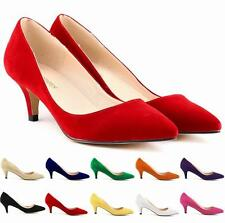 Sexy Ladies Women's Low Mid Kitten Heels Faux Suede Pointed Toe Pumps Shoes Hot