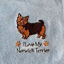 Norwich Terrier  Dog Embroidered Towels, Dog Towel, Dog Gift