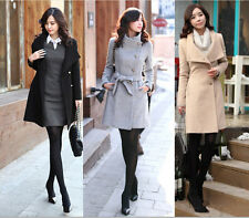 Slim new women's autumn and winter fashion wool coat long section jacket