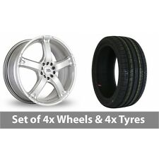 """4 x 17"""" BK Racing 333 Silver Alloy Wheel Rims and Tyres -  225/45/17"""
