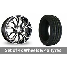 """4 x 18"""" Dare Ghost Black Polished Alloy Wheel Rims and Tyres -  225/45/18"""