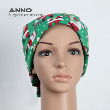 Anno Scrub Surgical Hat Cap Limited Edition Tieback Santa on Green AT-SDLR