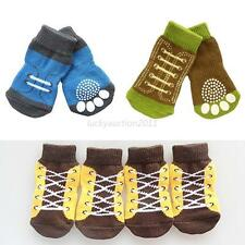 4Pcs Pet Dog Sneakers Lovely Cartoon Pattern Non-slip Socks Paws Cover Shoes
