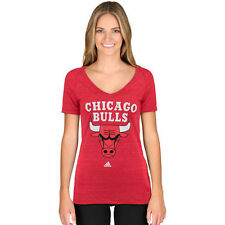 adidas Chicago Bulls Women's Red Primary Logo Tri-Blend V-Neck T-Shirt - NBA