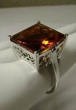 12ct Square Cut*Orange Citrine* Solid Sterling Silver Filigree Ring size Any/MTO