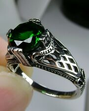 *Green Emerald* Solid Sterling Silver Art Deco Bow Filigree Ring Size: Any/MTO