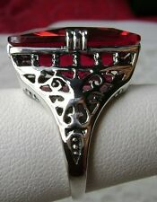 30ct Huge Big *Red Ruby* Solid Sterling Silver Filigree Ring (MTO/New) Size Any