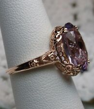 Nat. Amethyst Sterling Silver & Rose Gold Edwardian Filigree Ring Size: Any/MTO