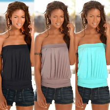 Womens Sleeveless Strapless Tube Vest Blouse T-shirts Bandeau Stretch Tank Tops