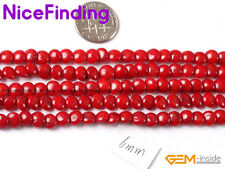 """6mm Wholesale Lots Coin Coral Stone Beads For Jewelry Making Gemstone Strand 15"""""""