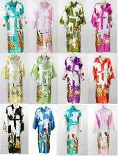 11 Colors Wedding Bridesmaid Women's Silk Satin Robe Kimono Bath Gown Nightgown