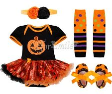 4PCS Halloween Baby Girl Toddler Romper Headband Pumpkin Outfit Tutu Skirt 0-12M