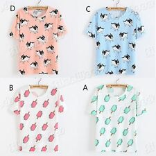Women Girls  Cotton Lady's Casual T-Shirt Tee Cotton Printing Korean Fashion