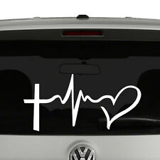 Faith Hope Love Symbols Vinyl Decal Sticker Cross Heartbeat Heart