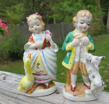 Pair Vintage Occupied Japan Figurines Children Boy with Dog & Girl with Duck