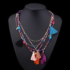 Women Choker Vintage Feathers Pendant Statement Collar Bib Necklace Chain CHI