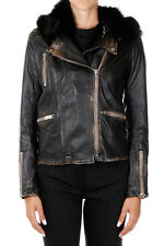 S.W.O.R.D New Women Black Leather Vintage Fox Fur hood Biker Jacket Made Italy