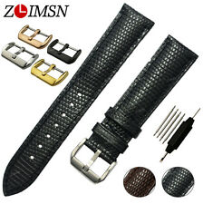 Watch Band Strap Mens Genuine Leather Stainless Steel Plated Buckle 18mm - 24mm