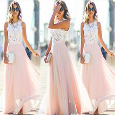 Sexy Women Evenin Cocktail Lace Party Formal Dress Bodycon Sleeveless Long Skirt