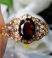 Natural Garnet Sterling Silver & Rose Gold Victorian Filigree Ring Size Any/MTO