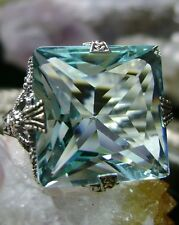 12ct *Aquamarine* Sterling Silver Victorian/Deco Filigree Ring Size (Any/MTO)