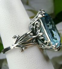 13ct Blue*Aquamarine* Sterling Silver Love Leaf Filigree Ring (MTO/New) Size Any