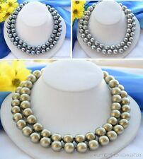 X0399 2strands 14mm round south sea shell pearl necklace 18inch