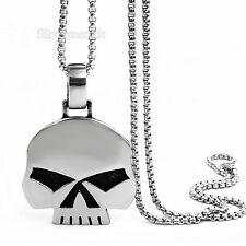 Men's Stainless Steel Pendant Necklace Silver Heavy Robot Skull Motorcycle Biker