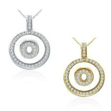 "Alphabet Letter ""O"" Round Disc Initial Pendant Necklace 18"" Chain 14K White Gold"