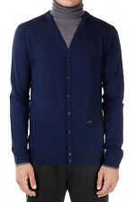DSQUARED2 New Men Dark blue Long sleeve Turtle Neck Sweater Jumper buttons NWT