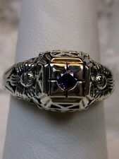 Edwardian *Amethyst* Sterling Silver Garden Filigree Ring Size: {Made To Order}