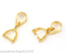Wholesale HOT Gold Plated Pinch Clip Bail Beads Findings 13x5mm