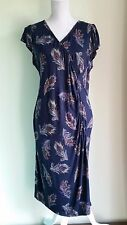 BILLIE AND BLOSSOM Blue Stretch Dress UK Size 18 Peacock Feather Pattern