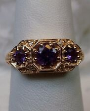 Amethyst Sterling Silver & Rose Gold Filigree Edwardian Ring {Made To Order}