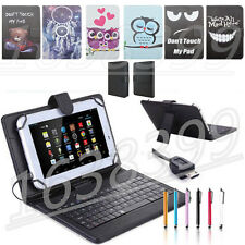 "Universal Folio Leather Case Cover & USB Keyboard For Android 7"" 8"" Tablet PC"