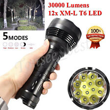 30000LM 12x Cree XM-L T6 LED Flashlight 5 Modes Torch Light Lamp Waterproof Lot