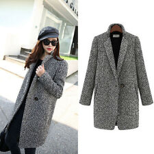Womens Slim Jacket Outwear Warm Wool Cashmere Long Winter Parka Coat Trench New