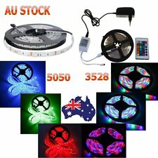 5M SMD 5050 3528 RGB 150LED/300LED Strip Light Lamp + IR Remote + Power Adapter