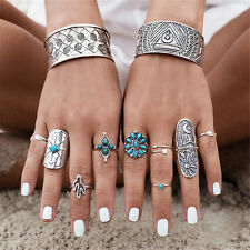 Unique Silver Punk Vintage Ring Womens Retro Geometry Finger Rings Boho Style