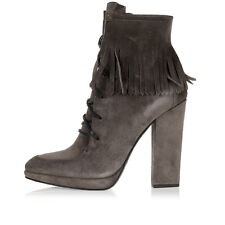 GIUSEPPE ZANOTTI New Woman tortora Fringes Leather Ankle boots Shoes Made italy