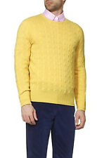 POLO RALPH LAUREN 100% CASHMERE YELLOW CLASSIC CABLE CREWNECK SWEATER $398+
