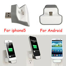 White Stand Micro USB Wireless Mini Wall Charger Adapter Dock For Cell Phones