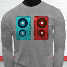 3D CASSETTE TAPE RETRO HIP HOP MIX TAPE RAP 90S Mens Gray Long Sleeve T-Shirt
