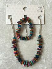 M&S REAL SHELL & GLASS BEAD NECKLACE & BRACELET SET MULTICOLOUR *NEW* RRP £15!